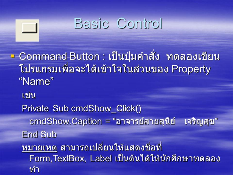 Basic Control Command Button : เป็นปุ่มคำสั่ง ทดลองเขียนโปรแกรมเพื่อจะได้เข้าใจในส่วนของ Property Name