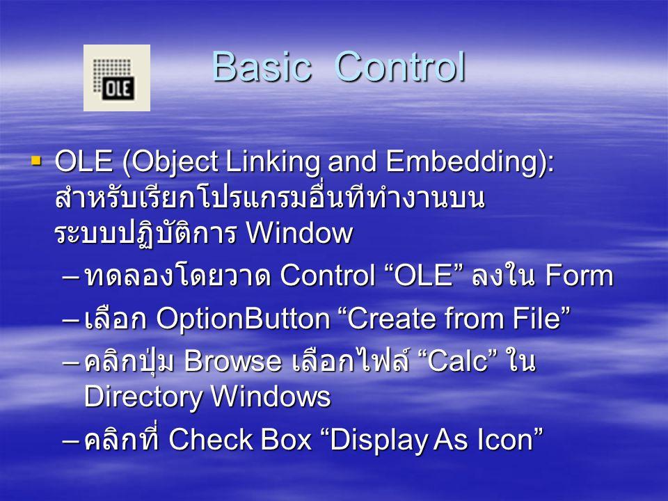 Basic Control OLE (Object Linking and Embedding): สำหรับเรียกโปรแกรมอื่นทีทำงานบนระบบปฏิบัติการ Window.