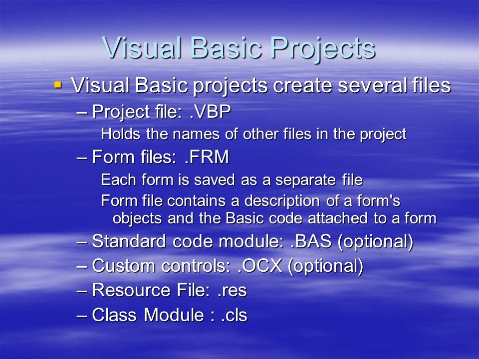 Visual Basic Projects Visual Basic projects create several files