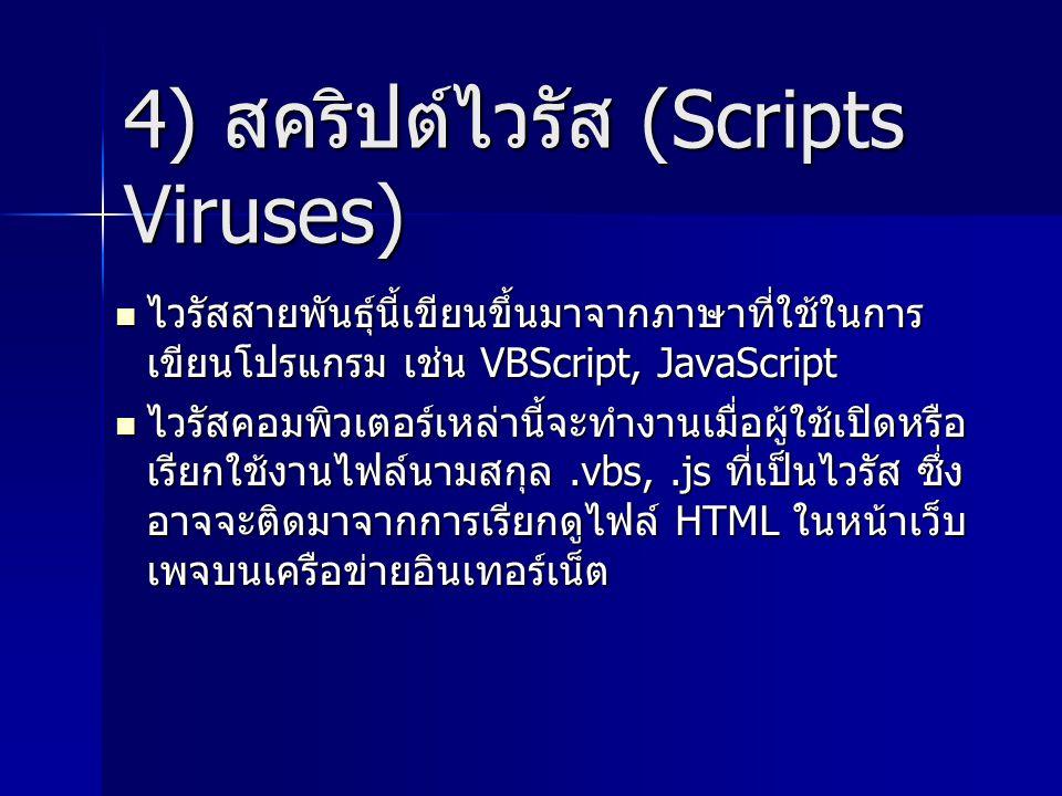 4) สคริปต์ไวรัส (Scripts Viruses)