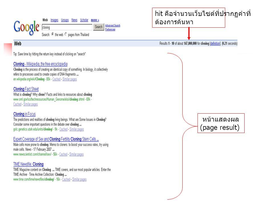 หน้าแสดงผล (page result)