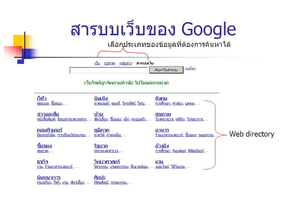 สารบบเว็บของ Google เลือกประเภทของข้อมูลที่ต้องการค้นหาได้