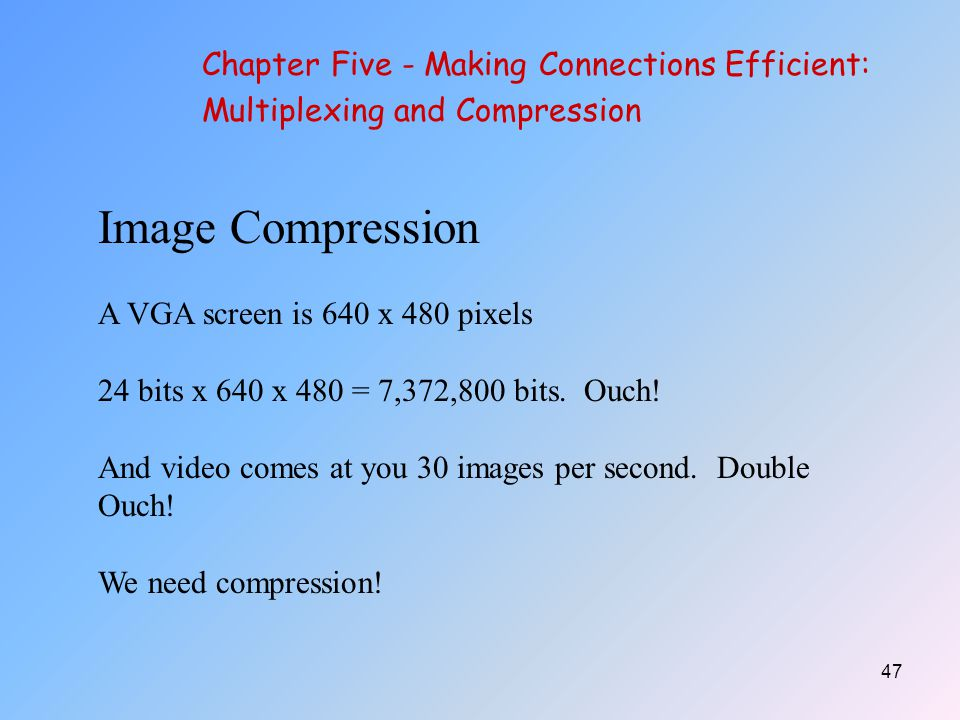 Image Compression Chapter Five - Making Connections Efficient: