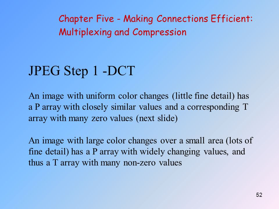 JPEG Step 1 -DCT Chapter Five - Making Connections Efficient: