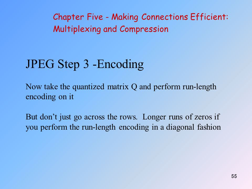 JPEG Step 3 -Encoding Chapter Five - Making Connections Efficient: