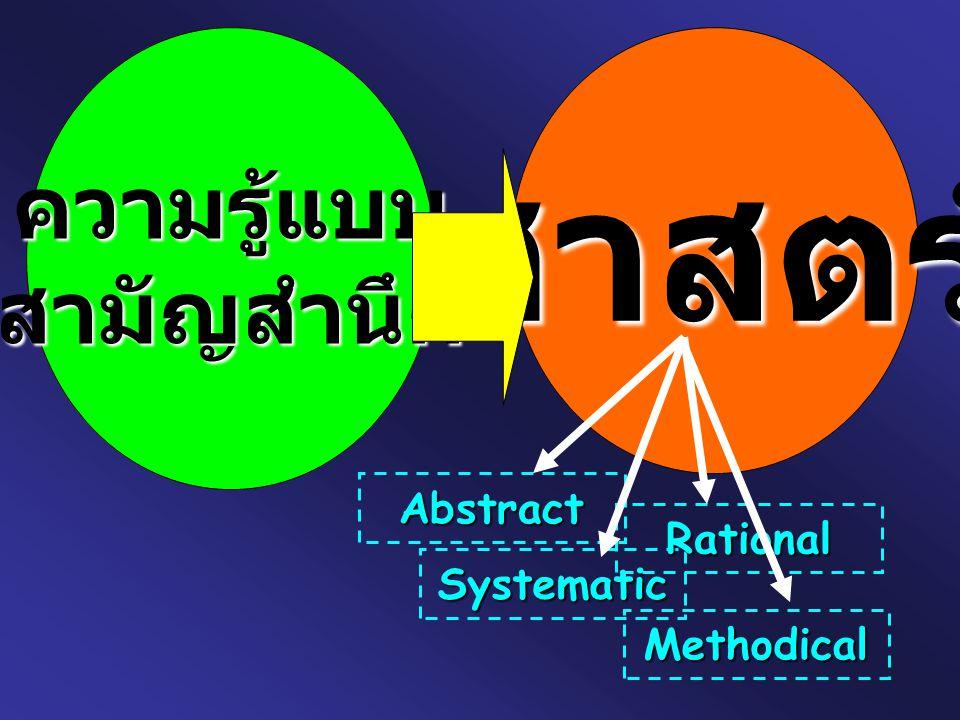 ความรู้แบบ สามัญสำนึก ศาสตร์ Abstract Rational Systematic Methodical