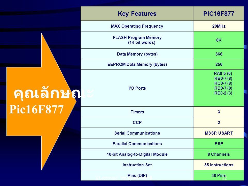 คุณลักษณะ Pic16F877 Key Features PIC16F877 ELectronic วท.อุบลราชธานี