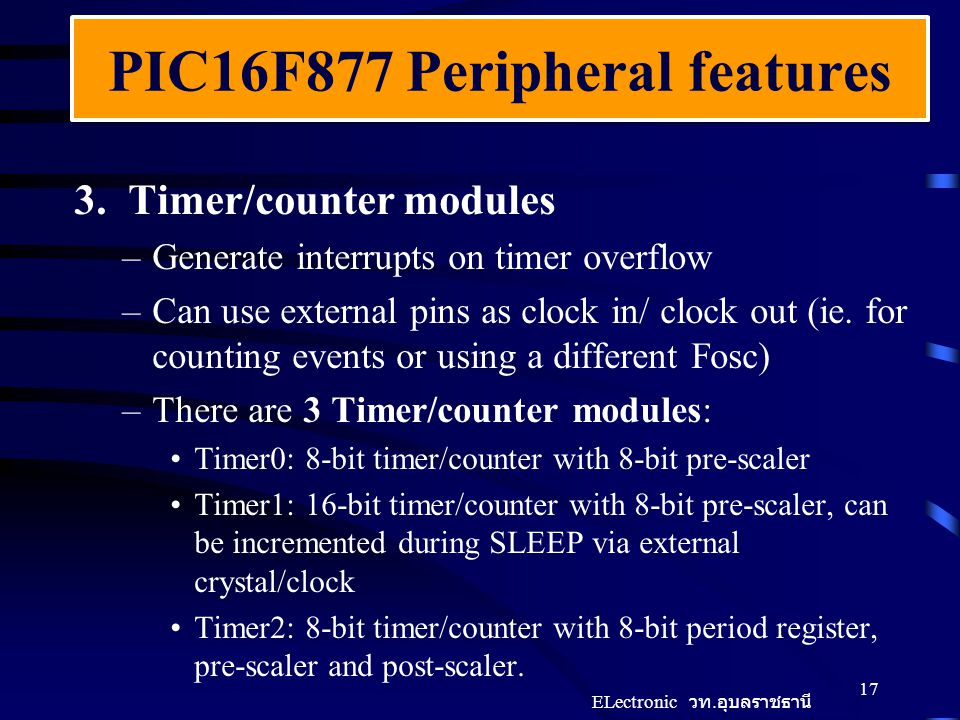PIC16F877 Peripheral features