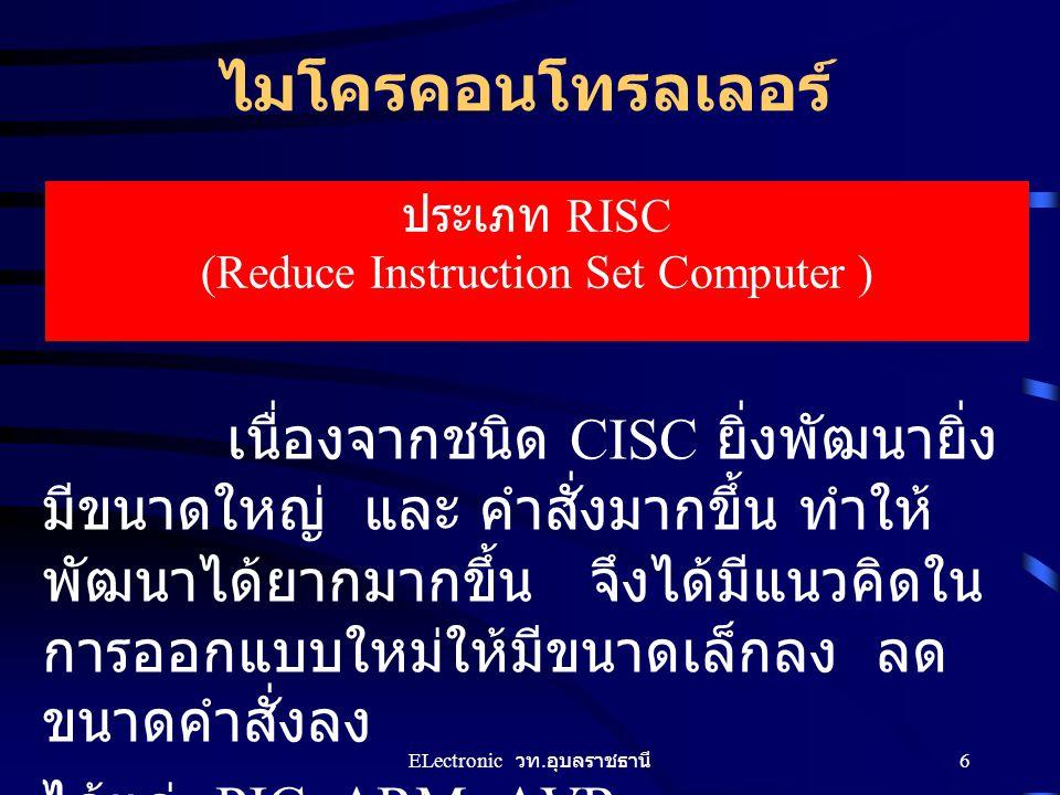 ไมโครคอนโทรลเลอร์ ประเภท RISC (Reduce Instruction Set Computer )