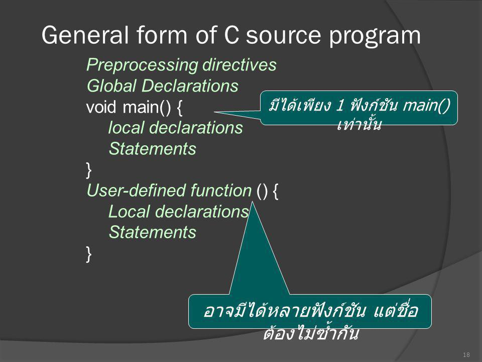 General form of C source program