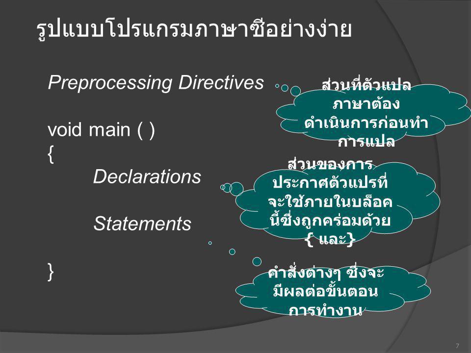 รูปแบบโปรแกรมภาษาซีอย่างง่าย