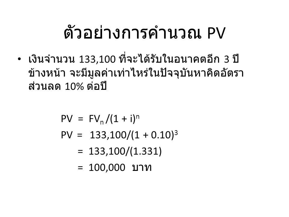 ตัวอย่างการคำนวณ PV เงินจำนวน 133,100 ที่จะได้รับในอนาคตอีก 3 ปีข้างหน้า จะมีมูลค่าเท่าไหร่ในปัจจุบันหาคิดอัตราส่วนลด 10% ต่อปี