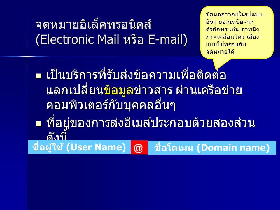 จดหมายอิเล็คทรอนิคส์ (Electronic Mail หรือ E-mail)