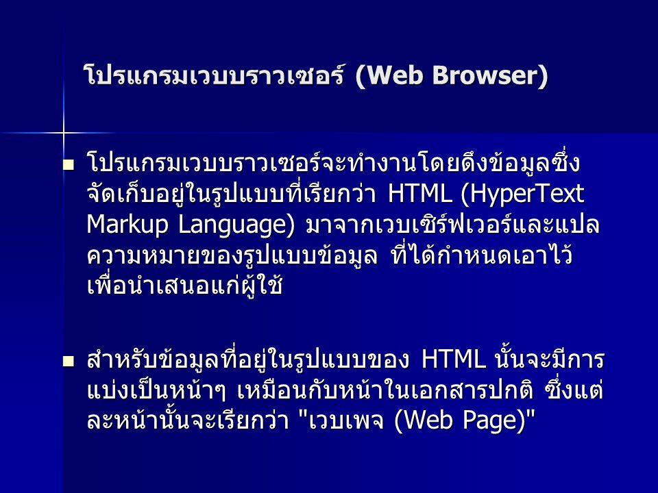 โปรแกรมเวบบราวเซอร์ (Web Browser)