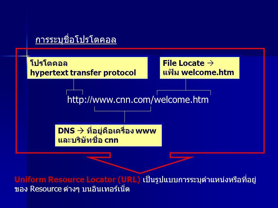 การระบุชื่อโปรโตคอล http://www.cnn.com/welcome.htm โปรโตคอล