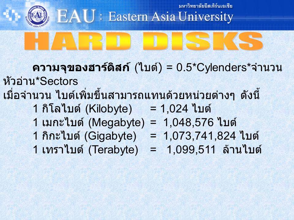 HARD DISKS ความจุของฮาร์ดิสก์ (ไบต์) = 0.5*Cylenders*จำนวนหัวอ่าน*Sectors. เมื่อจำนวน ไบต์เพิ่มขึ้นสามารถแทนด้วยหน่วยต่างๆ ดังนี้