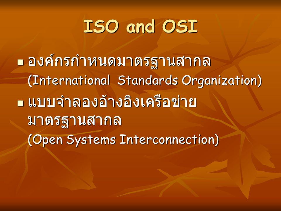 ISO and OSI องค์กรกำหนดมาตรฐานสากล แบบจำลองอ้างอิงเครือข่ายมาตรฐานสากล