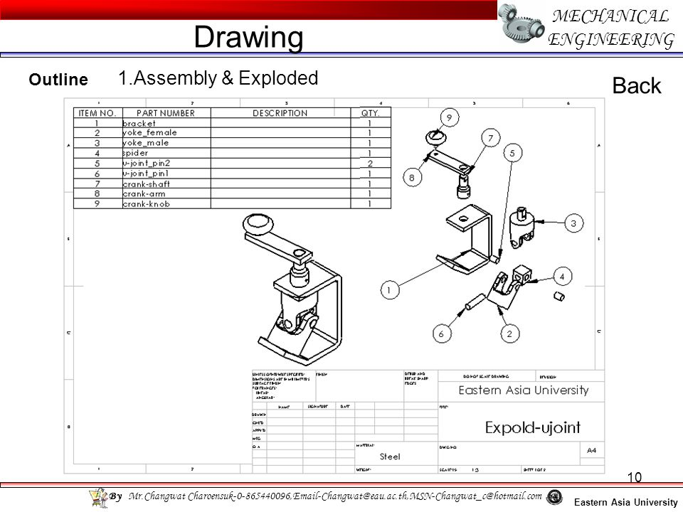 Drawing Back MECHANICAL ENGINEERING 1.Assembly & Exploded Outline