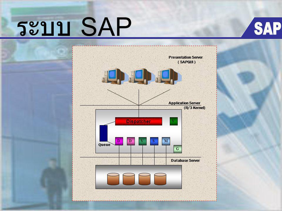 ระบบ SAP SAP Dispatcher D V S M G Database Server Application Server