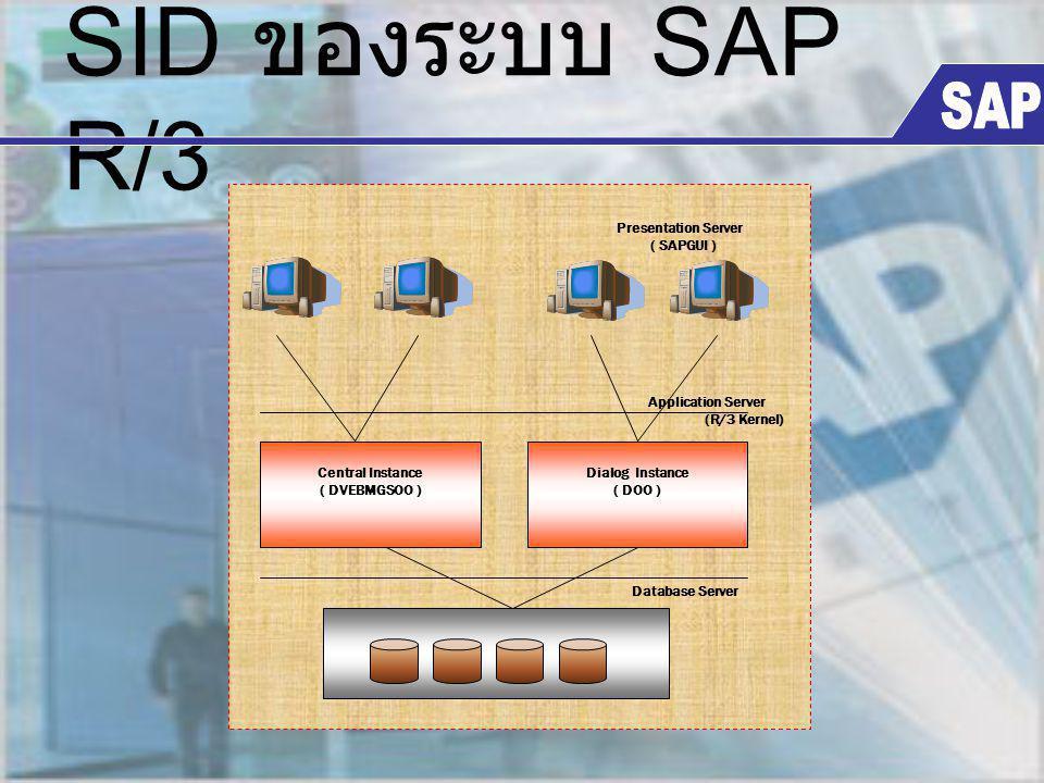 SID ของระบบ SAP R/3 SAP Central Instance ( DVEBMGSOO ) Database Server