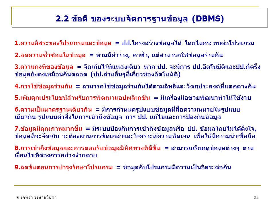 2.2 ข้อดี ของระบบจัดการฐานข้อมูล (DBMS)