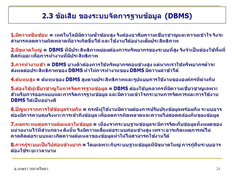 2.3 ข้อเสีย ของระบบจัดการฐานข้อมูล (DBMS)
