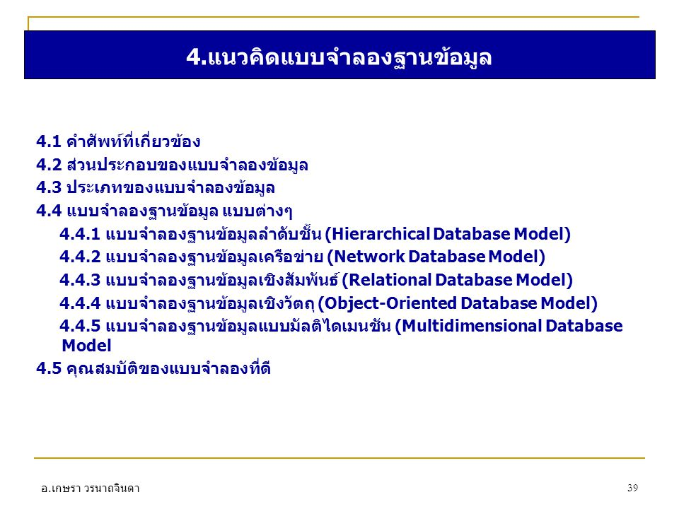 4.แนวคิดแบบจำลองฐานข้อมูล