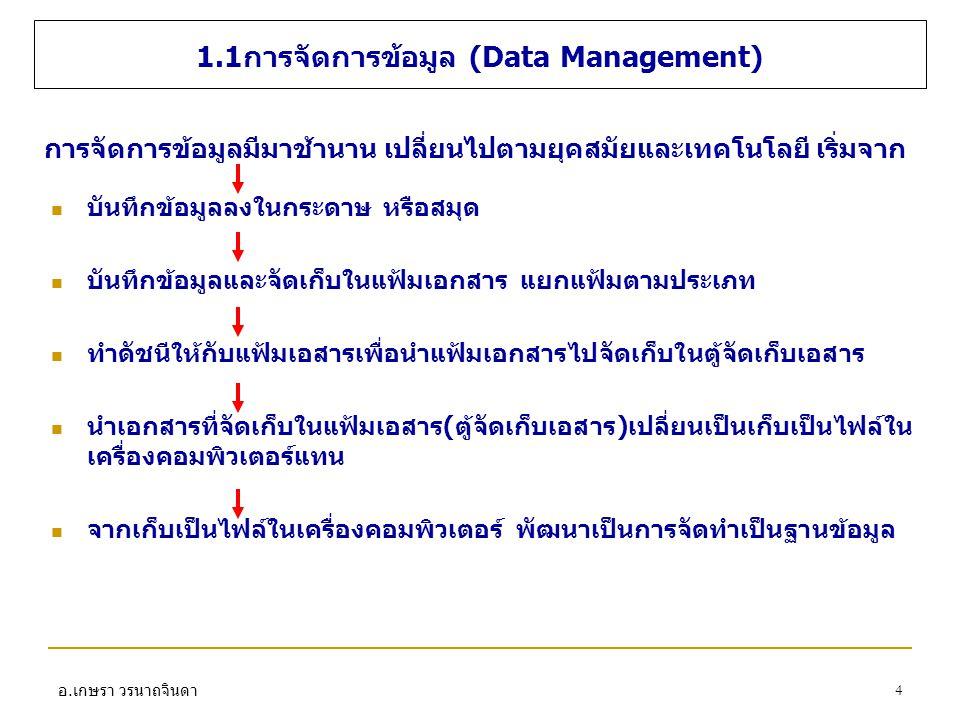 1.1การจัดการข้อมูล (Data Management)