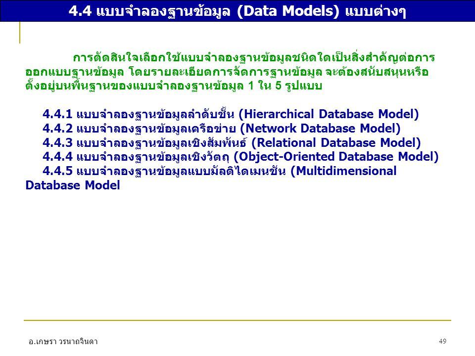 4.4 แบบจำลองฐานข้อมูล (Data Models) แบบต่างๆ