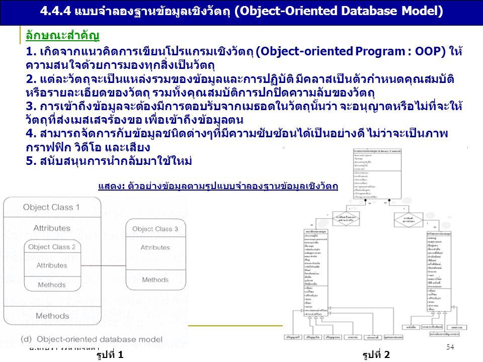 4.4.4 แบบจำลองฐานข้อมูลเชิงวัตถุ (Object-Oriented Database Model)