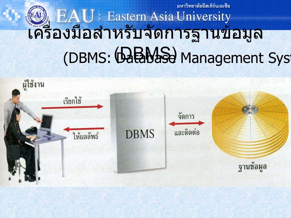 เครื่องมือสำหรับจัดการฐานข้อมูล (DBMS)