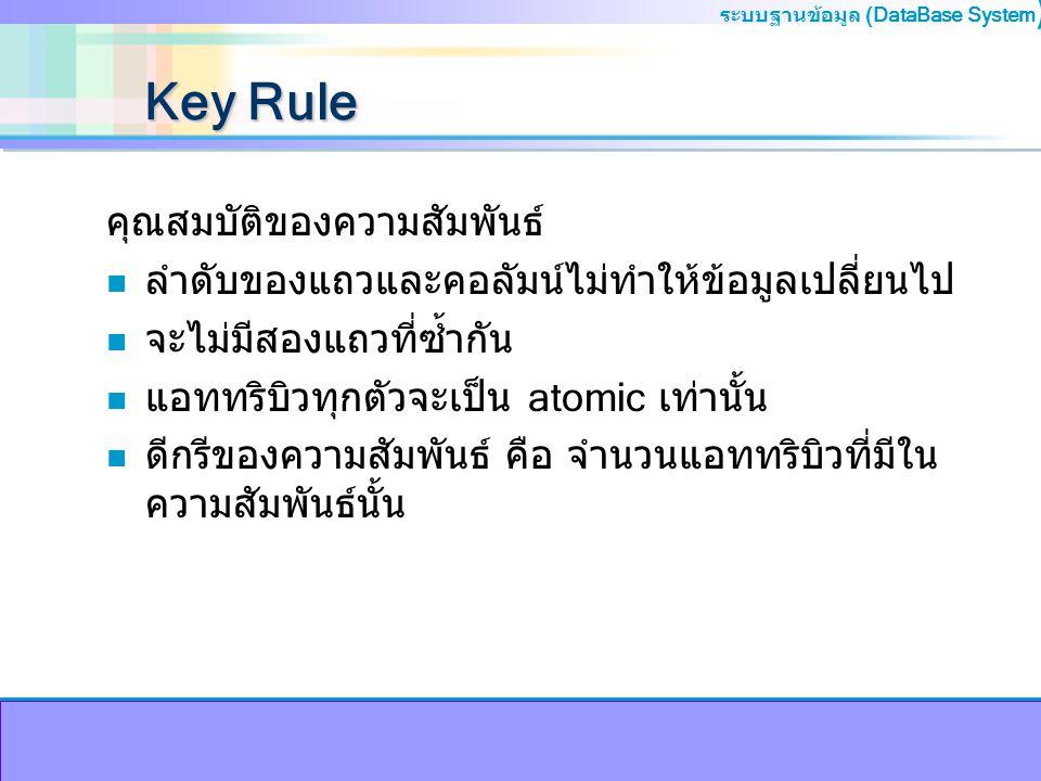 Key Rule คุณสมบัติของความสัมพันธ์