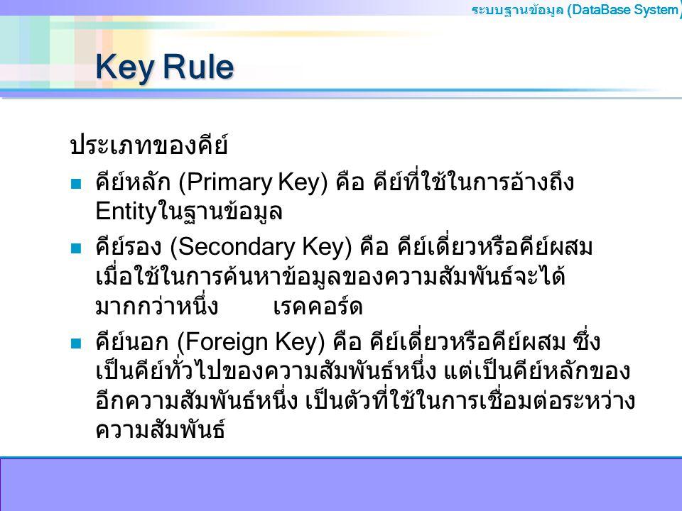 Key Rule ประเภทของคีย์