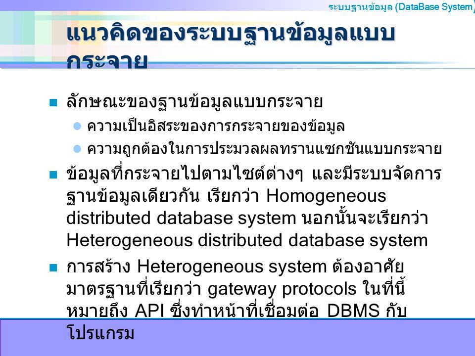 แนวคิดของระบบฐานข้อมูลแบบกระจาย