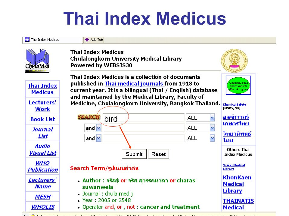 Thai Index Medicus bird