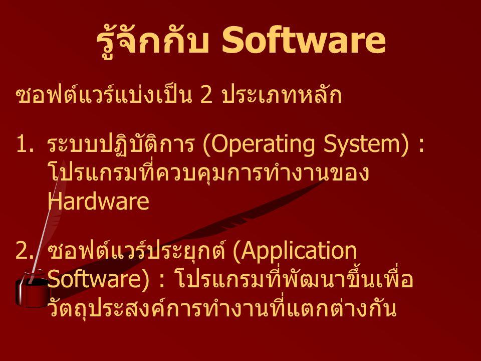 รู้จักกับ Software ซอฟต์แวร์แบ่งเป็น 2 ประเภทหลัก