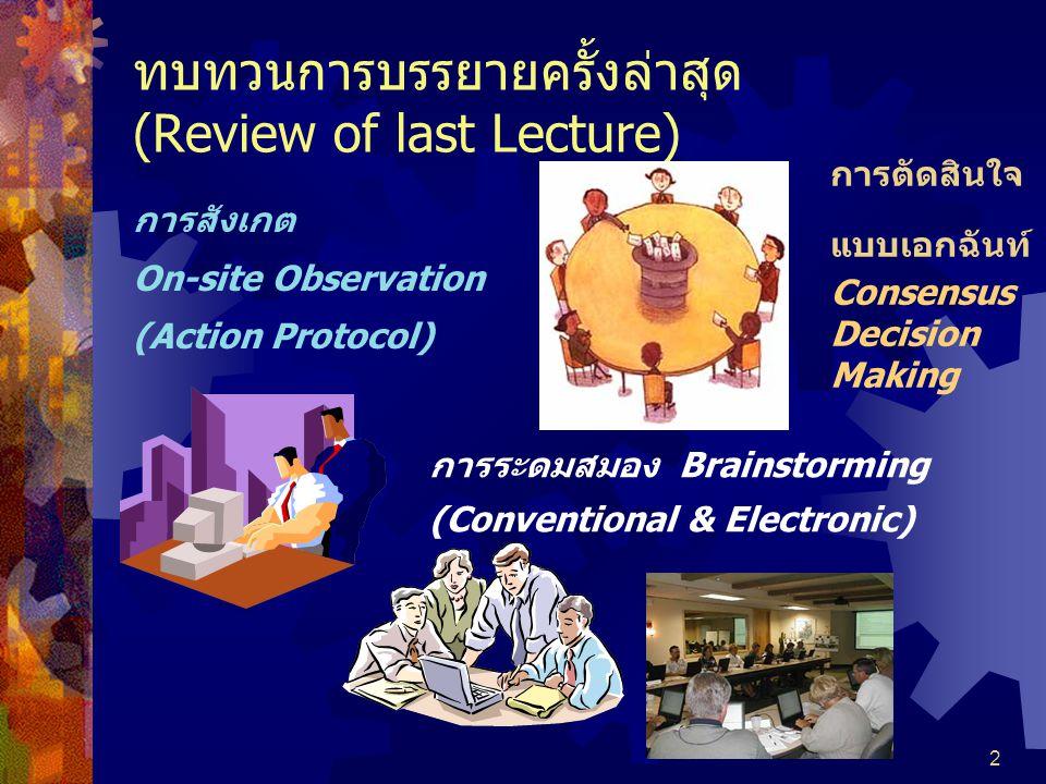 ทบทวนการบรรยายครั้งล่าสุด (Review of last Lecture)
