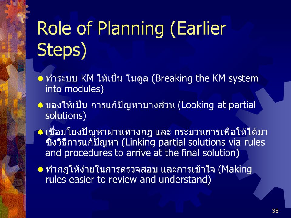 Role of Planning (Earlier Steps)