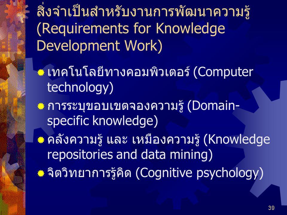 สิ่งจำเป็นสำหรับงานการพัฒนาความรู้ (Requirements for Knowledge Development Work)