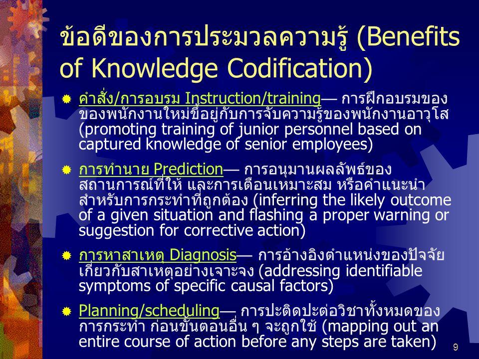 ข้อดีของการประมวลความรู้ (Benefits of Knowledge Codification)