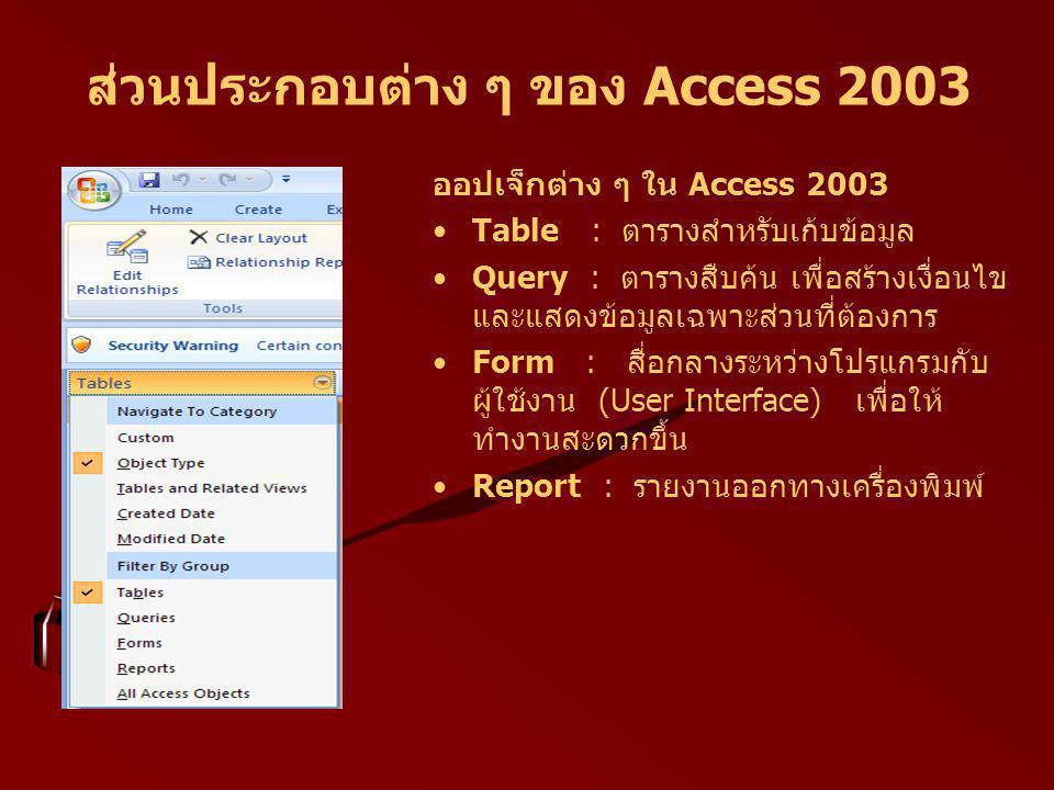 ส่วนประกอบต่าง ๆ ของ Access 2003