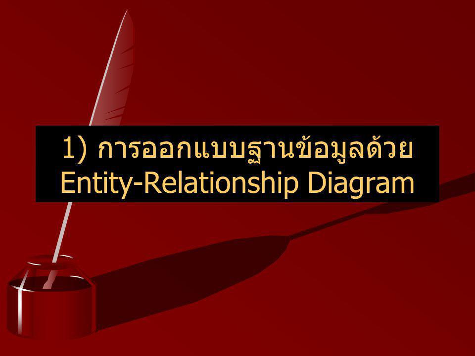1) การออกแบบฐานข้อมูลด้วย Entity-Relationship Diagram