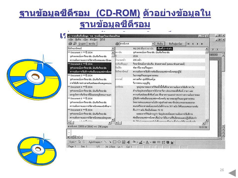ฐานข้อมูลซีดีรอม (CD-ROM) ตัวอย่างข้อมูลในฐานข้อมูลซีดีรอม