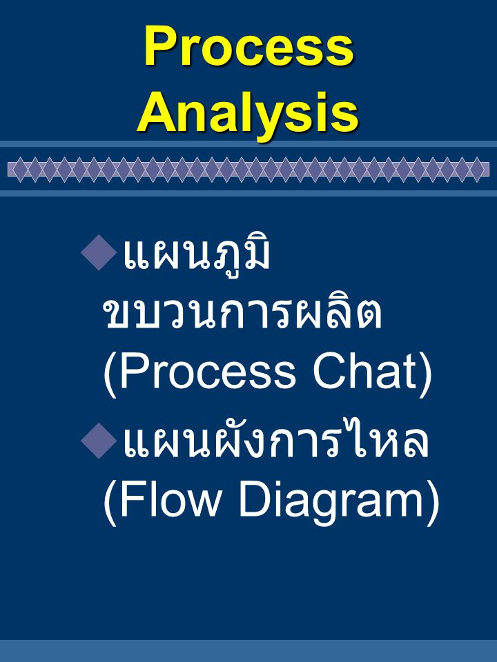 Process Analysis แผนภูมิขบวนการผลิต (Process Chat)