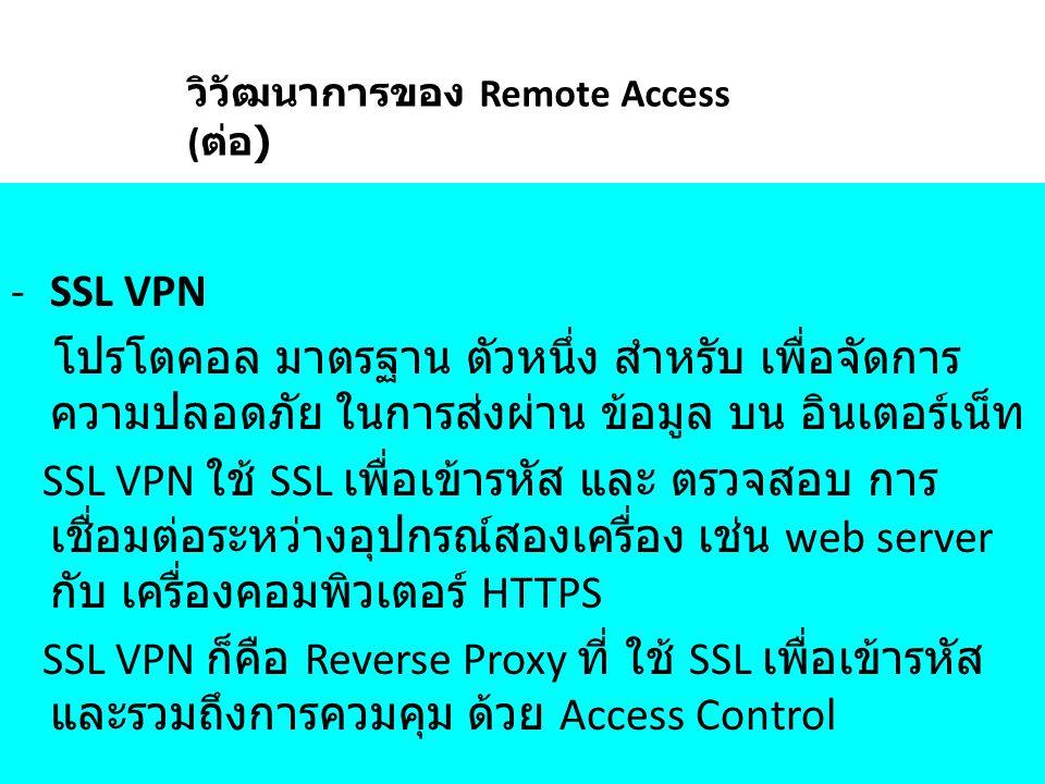 วิวัฒนาการของ Remote Access (ต่อ)