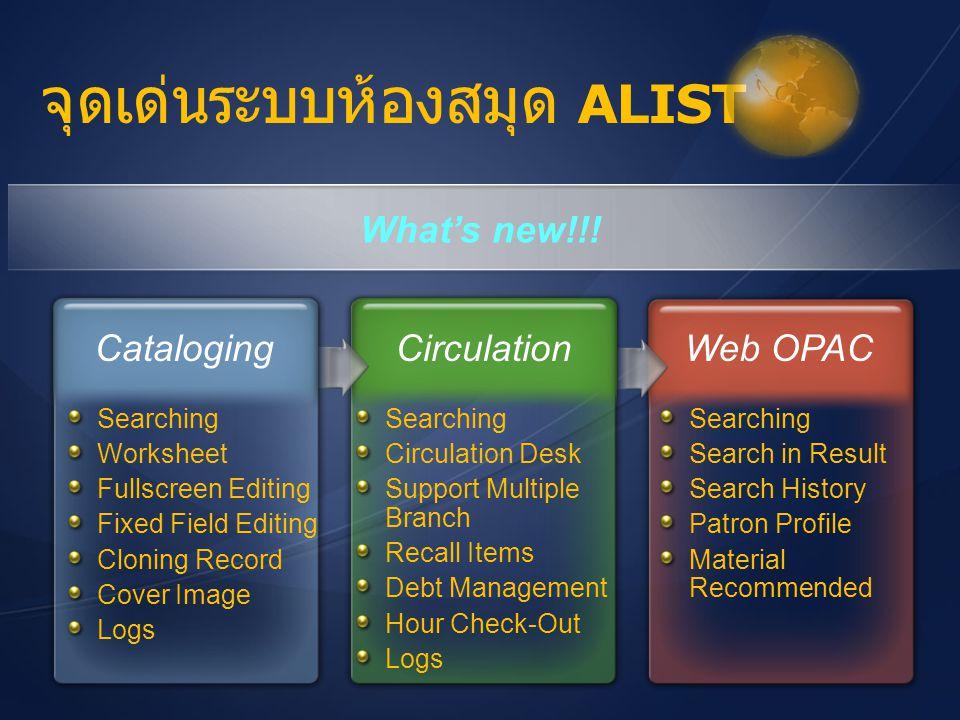 จุดเด่นระบบห้องสมุด ALIST