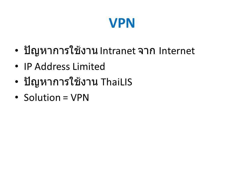 VPN ปัญหาการใช้งาน Intranet จาก Internet IP Address Limited