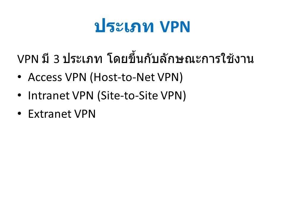ประเภท VPN VPN มี 3 ประเภท โดยขึ้นกับลักษณะการใช้งาน