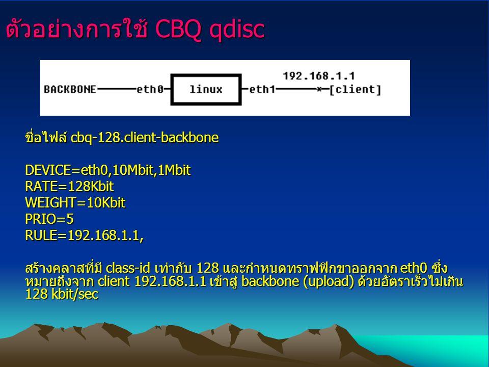 ตัวอย่างการใช้ CBQ qdisc