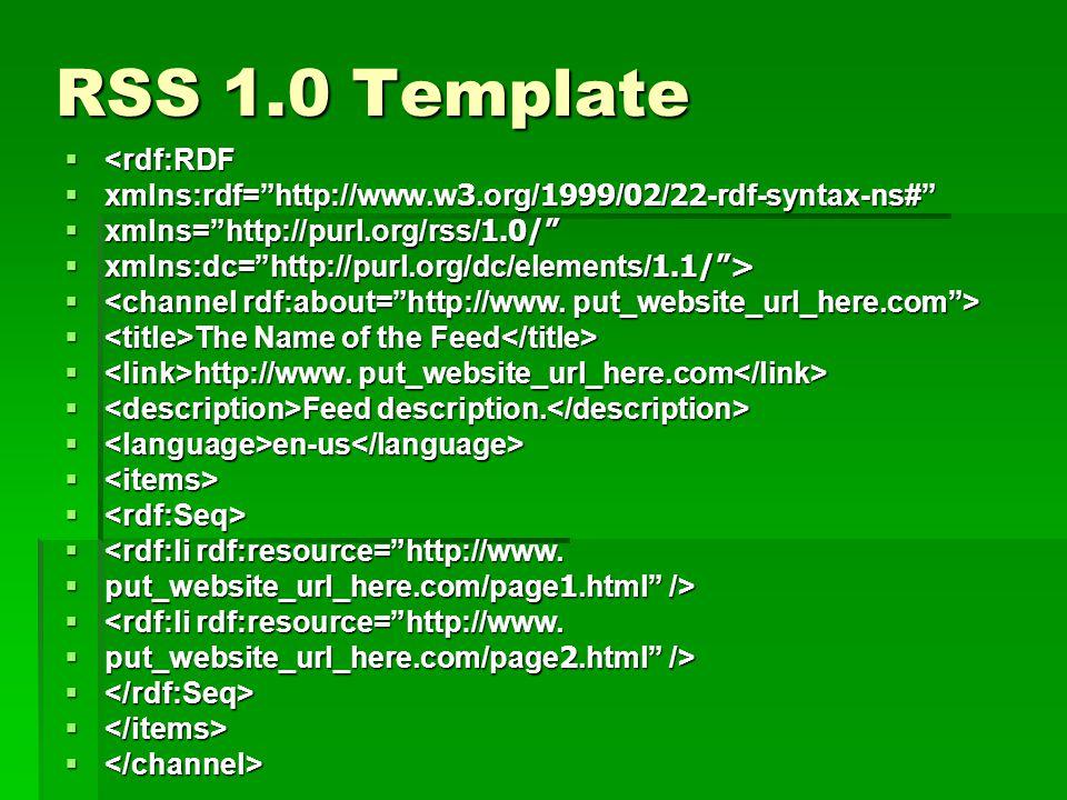 RSS 1.0 Template <rdf:RDF